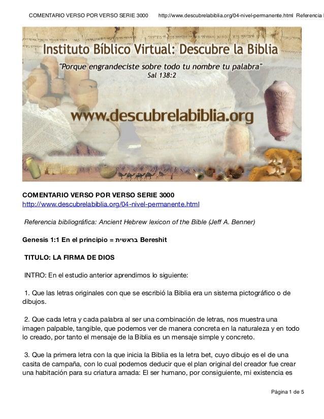 COMENTARIO VERSO POR VERSO SERIE 3000 http://www.descubrelabiblia.org/04-nivel-permanente.html Referencia b COMENTARIO V...