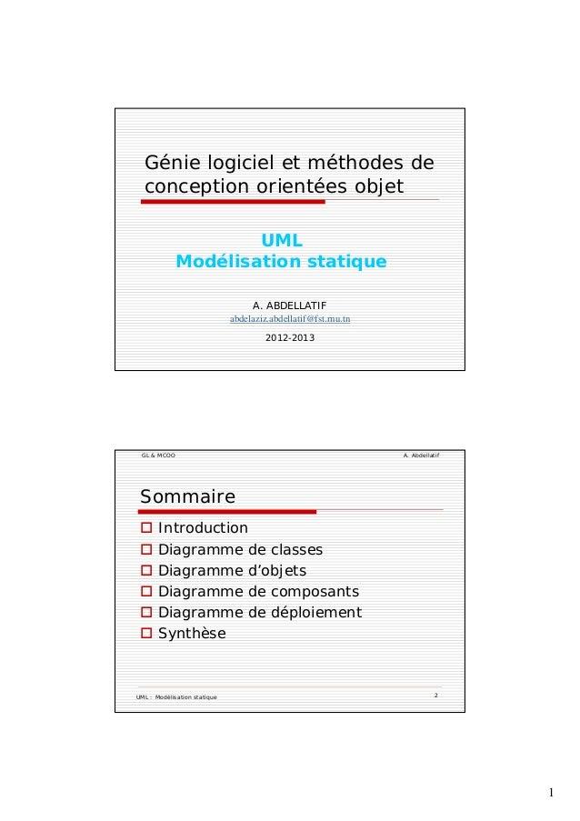 1 Génie logiciel et méthodes de conception orientées objetp j UML Modélisation statique A. ABDELLATIF abdelaziz.abdellatif...
