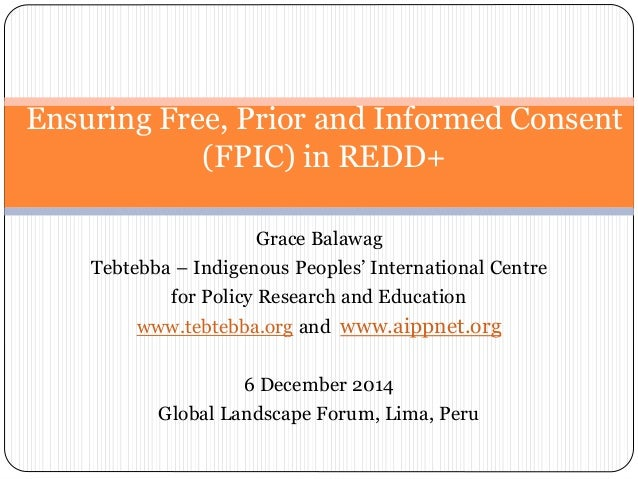 Ensuring Free, Prior and Informed Consent  (FPIC) in REDD+  Grace Balawag  Tebtebba – Indigenous Peoples' International Ce...