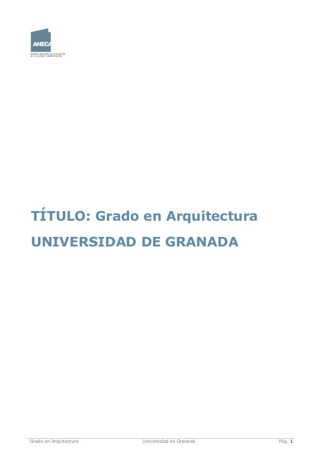03 grado en arquitectura verificado 2010 for Grado en arquitectura