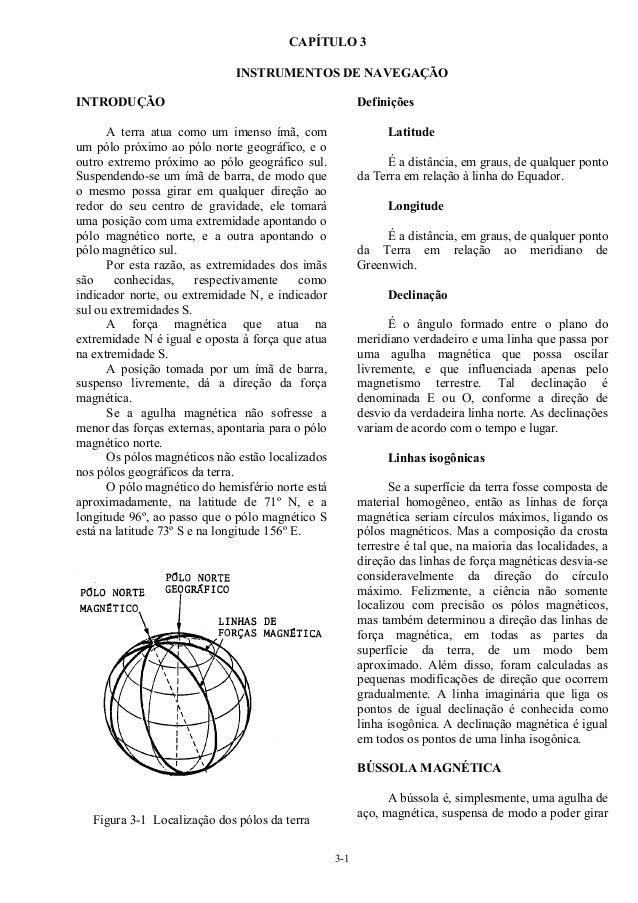 3-1 CAPÍTULO 3 INSTRUMENTOS DE NAVEGAÇÃO INTRODUÇÃO A terra atua como um imenso ímã, com um pólo próximo ao pólo norte geo...