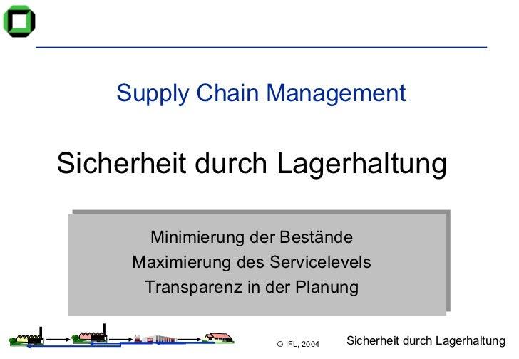 Supply Chain Management Sicherheit durch Lagerhaltung Minimierung der Bestände Maximierung des Servicelevels Transparenz i...