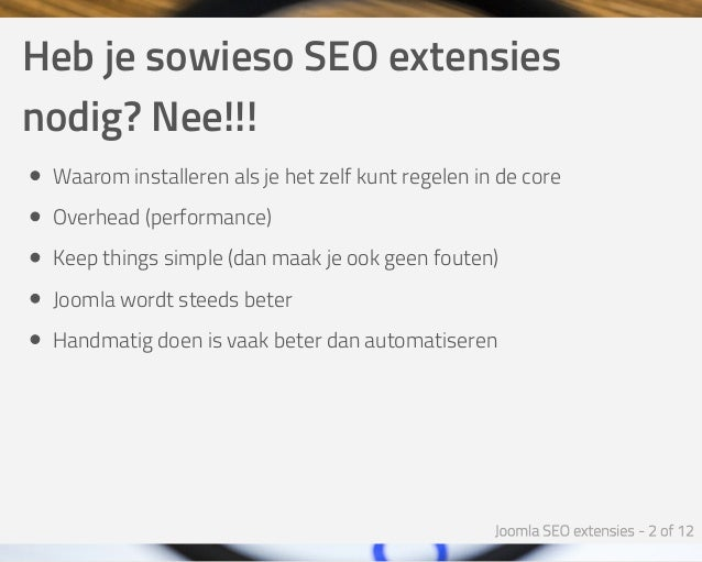 Joomla SEO Extensies - Joomla SEO Expert Sessie Slide 2