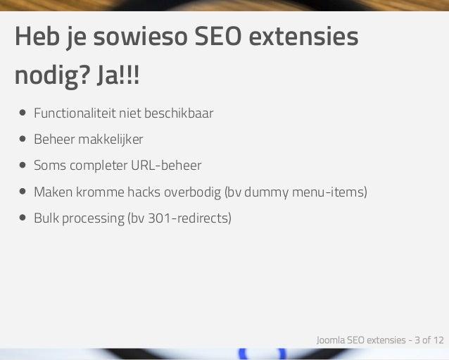 Joomla SEO Extensies - Joomla SEO Expert Sessie Slide 3