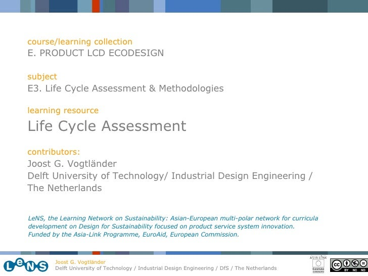 course/learning collection E. PRODUCT LCD ECODESIGN subject E3. Life Cycle Assessment & Methodologies learning resource Li...