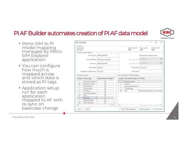 KBC unit monitoring Petro-SIM and PI-AF