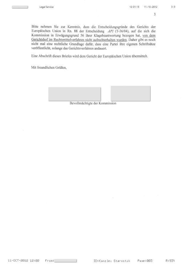 3 /3Legal Service 12:01:13 11-10-2012 Bitte nehmen Sie zur Kenntnis, dass die Entscheidungsgrunde des Gerichts der Europai...