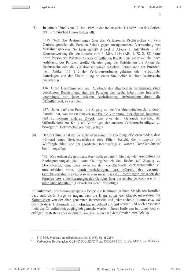 Legal Service 12: 00: 58 11-10 ⬠2012 2/3 (3) ln seinem Urteil vom 17. zuni 1998 in der Rechtssache T-174/95' hat das Ger...