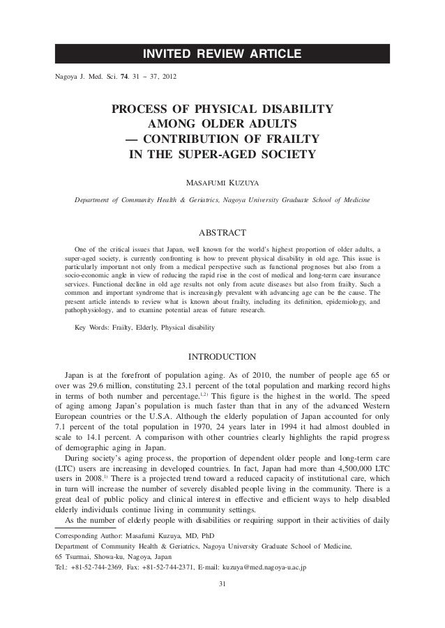 INVITED REVIEW ARTICLENagoya J. Med. Sci. 74. 31 ~ 37, 2012                  PROCESS OF PHYSICAL DISABILITY               ...