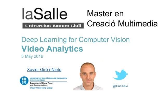 @DocXavi Deep Learning for Computer Vision Video Analytics 5 May 2016 Xavier Giró-i-Nieto Master en Creació Multimedia