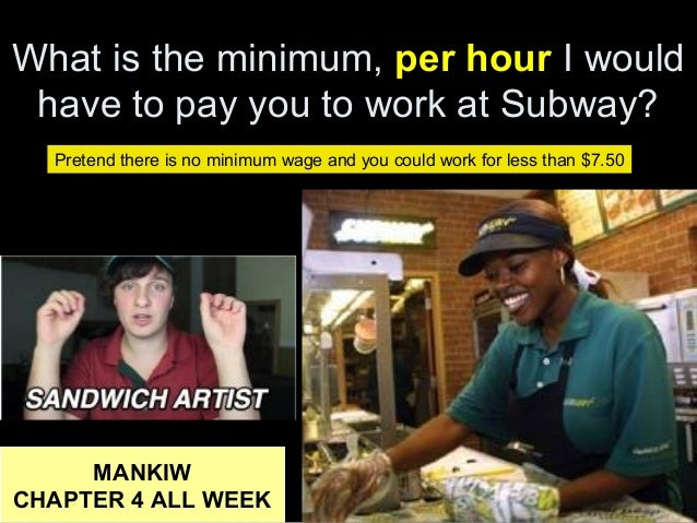 What is the minimum, per hour I would have to pay you to work at Subway? MANKIW CHAPTER 4 ALL WEEK Pretend there is no min...