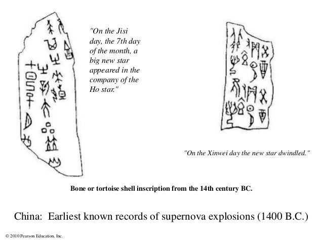 © 2010 Pearson Education, Inc. China: Earliest known records of supernova explosions (1400 B.C.) Bone or tortoise shell in...