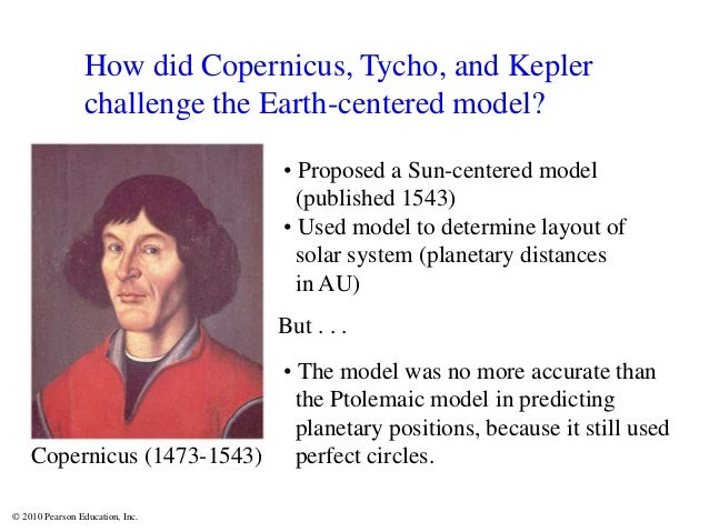 © 2010 Pearson Education, Inc. How did Copernicus, Tycho, and Kepler challenge the Earth-centered model? Copernicus (1473-...