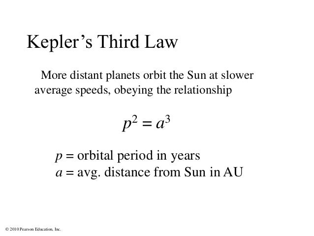 © 2010 Pearson Education, Inc. More distant planets orbit the Sun at slower average speeds, obeying the relationship p2 = ...