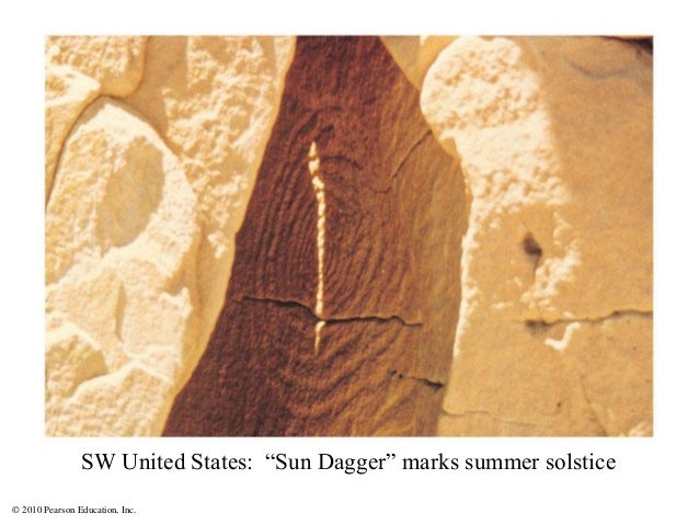 "© 2010 Pearson Education, Inc. SW United States: ""Sun Dagger"" marks summer solstice"