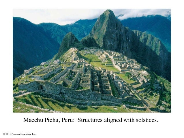 © 2010 Pearson Education, Inc. Macchu Pichu, Peru: Structures aligned with solstices.