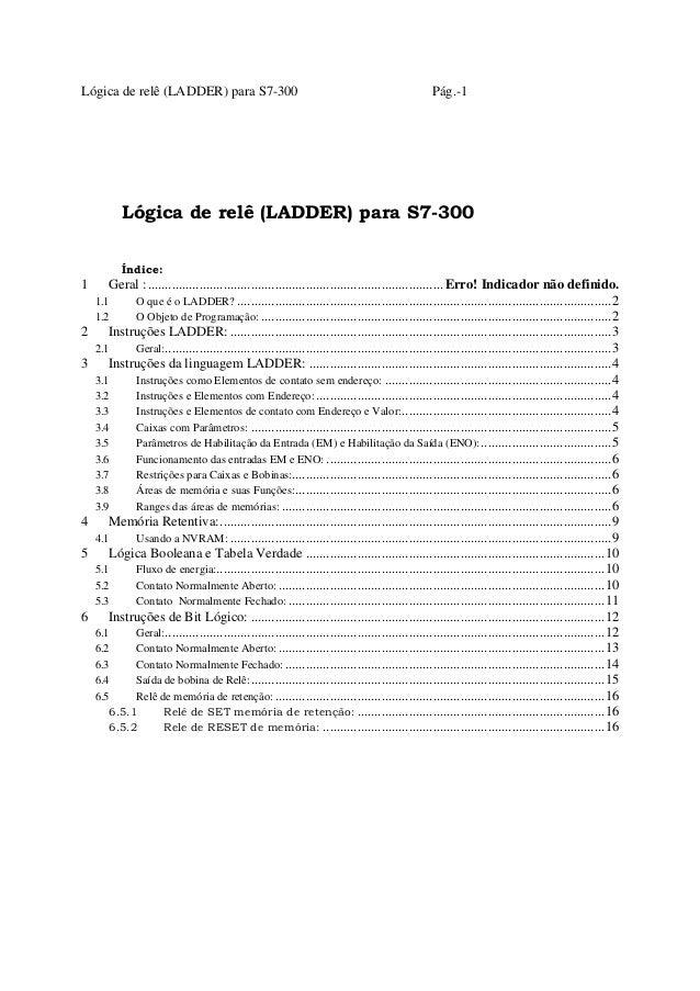 Lógica de relê (LADDER) para S7-300 Pág.-1 Lógica de relê (LADDER) para S7-300 Índice: 1 Geral :.............................