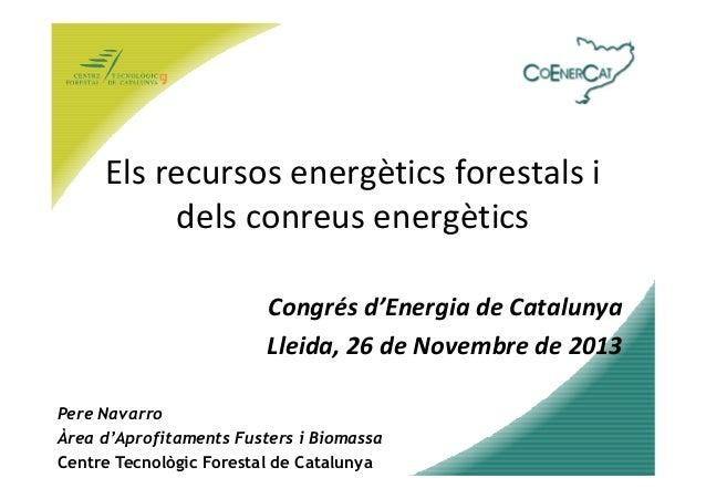 Els recursos energètics forestals i dels conreus energètics Congrés d'Energia de Catalunya Lleida, 26 de Novembre de 2013 ...