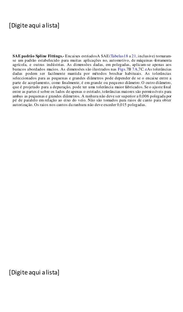 [Digite aqui alista] [Digite aqui alista] SAE padrão Spline Fittings.- Encaixes estriadosA SAE(Tabelas18 a 21, inclusive) ...