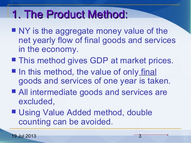 19 Jul 2013 3 1. The Product Method:1. The Product Method:  NY is the aggregate money value of the net yearly flow of fin...
