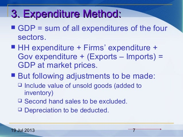 19 Jul 2013 7 3. Expenditure Method:3. Expenditure Method:  GDP = sum of all expenditures of the four sectors.  HH expen...