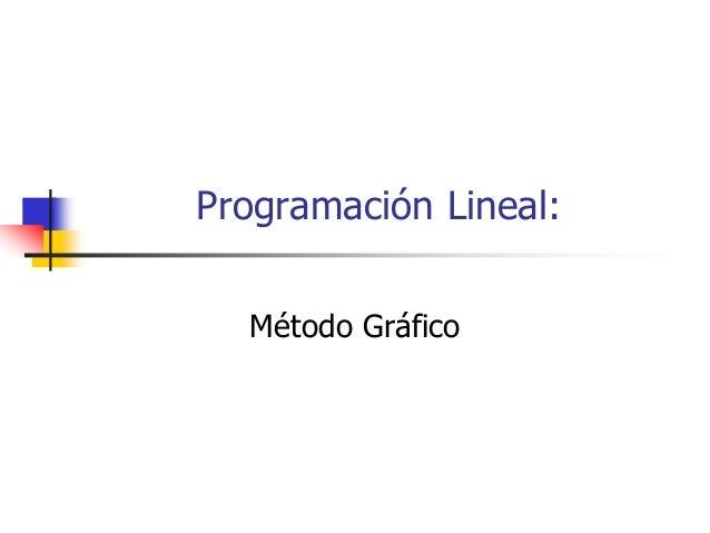 Programación Lineal:  Método Gráfico