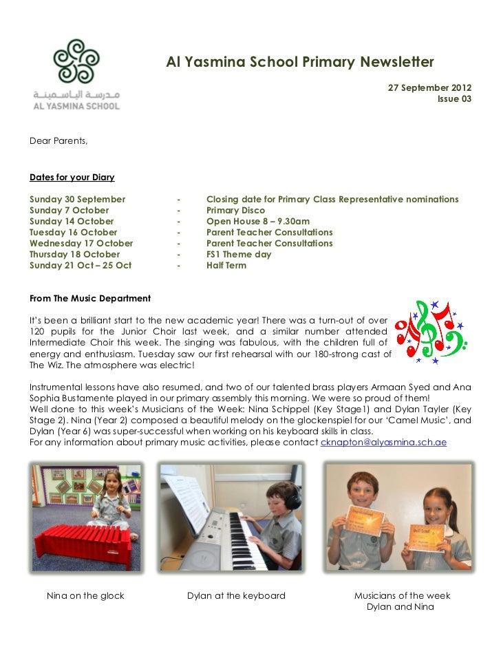Al Yasmina School Primary Newsletter                                                                                  27 S...