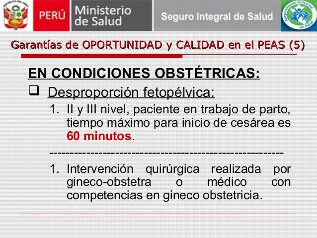 Garantías de OPORTUNIDAD y CALIDAD en el PEAS (5)Garantías de OPORTUNIDAD y CALIDAD en el PEAS (5) EN CONDICIONES OBSTÉTRI...
