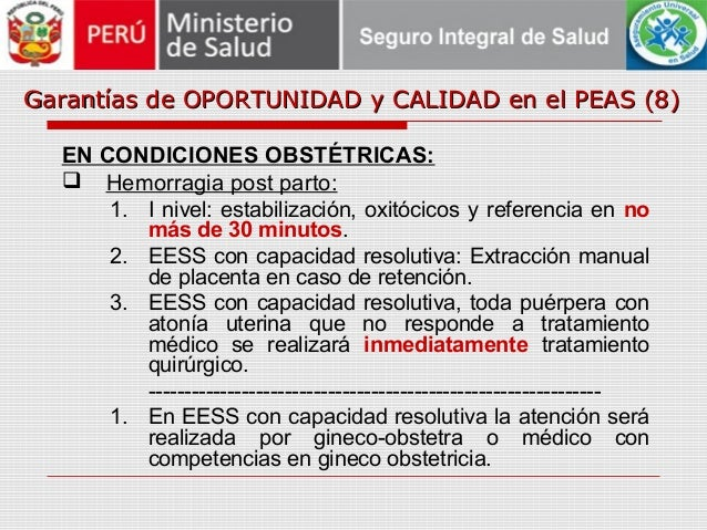 Garantías de OPORTUNIDAD y CALIDAD en el PEAS (8)Garantías de OPORTUNIDAD y CALIDAD en el PEAS (8) EN CONDICIONES OBSTÉTRI...