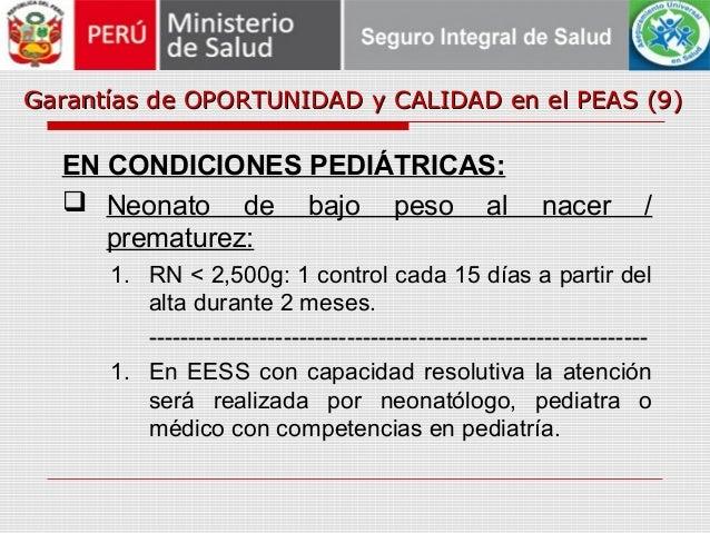 Garantías de OPORTUNIDAD y CALIDAD en el PEAS (9)Garantías de OPORTUNIDAD y CALIDAD en el PEAS (9) EN CONDICIONES PEDIÁTRI...