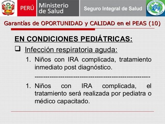 Garantías de OPORTUNIDAD y CALIDAD en el PEAS (10)Garantías de OPORTUNIDAD y CALIDAD en el PEAS (10) EN CONDICIONES PEDIÁT...