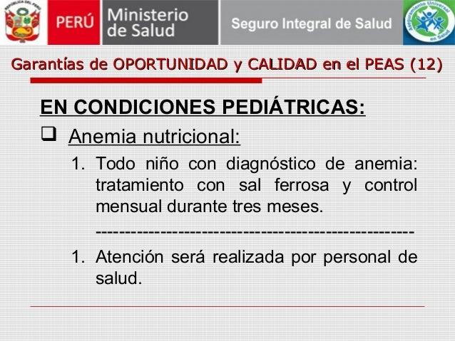 Garantías de OPORTUNIDAD y CALIDAD en el PEAS (12)Garantías de OPORTUNIDAD y CALIDAD en el PEAS (12) EN CONDICIONES PEDIÁT...