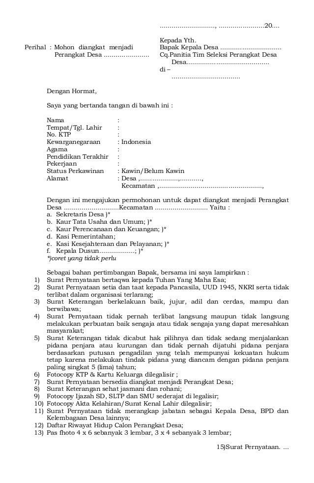 Contoh Surat Pernyataan Calon Perangkat Desa Bagi Contoh Surat