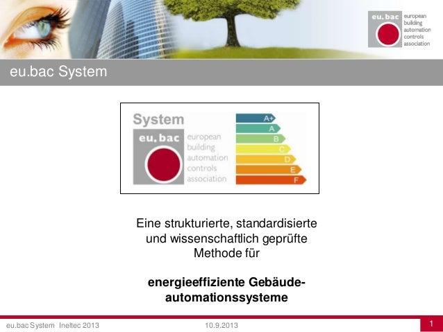 eu.bac System Ineltec 2013 110.9.2013 eu.bac System Eine strukturierte, standardisierte und wissenschaftlich geprüfte Meth...