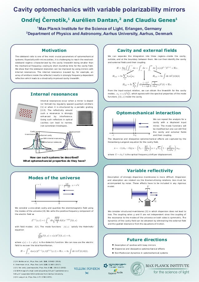 Cavity optomechanics with variable polarizability mirrors 1 Max Planck Institute for the Science of Light, Erlangen, Germa...