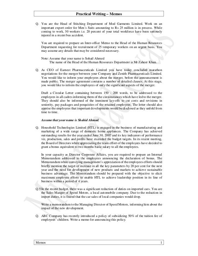 Practical Writing U2013 Memos Memos 1 Q. You Are The Head Of Stitching  Department Of ...  Internal Memo Format Letter