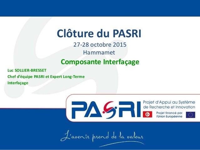 Clôture du PASRI 27-28 octobre 2015 Hammamet Composante Interfaçage Luc SOLLIER-BRESSET Chef d'équipe PASRI et Expert Long...