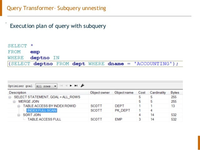 Oracle query optimizer