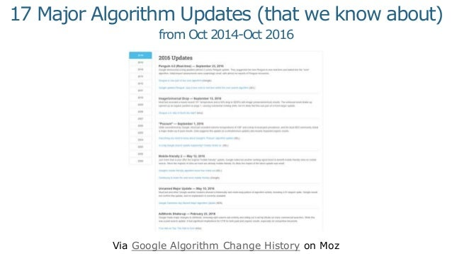 Via Google Algorithm Change History on Moz 17 Major Algorithm Updates (that we know about) from Oct 2014-Oct 2016