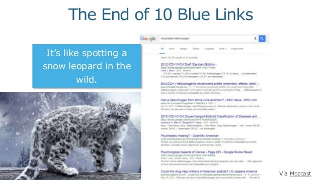 It's like spotting a snow leopard in the wild. Via Mozcast The End of 10 Blue Links