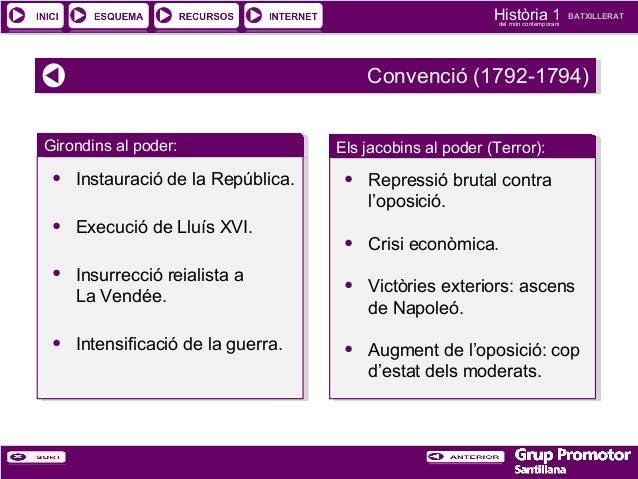Història 1 del món contemporani  BATXILLERAT  Convenció (1792-1794) Convenció (1792-1794) Girondins al poder: Girondins al...