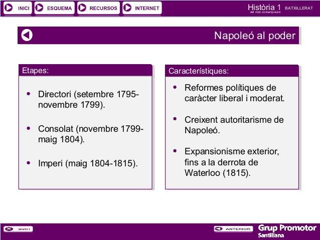 Història 1 del món contemporani  BATXILLERAT  Napoleó al poder Napoleó al poder Etapes: Etapes:  • • •  Directori (setembr...
