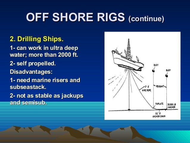 2. Drilling Ships.2. Drilling Ships. 1- can work in ultra deep1- can work in ultra deep water; more than 2000 ft.water; mo...