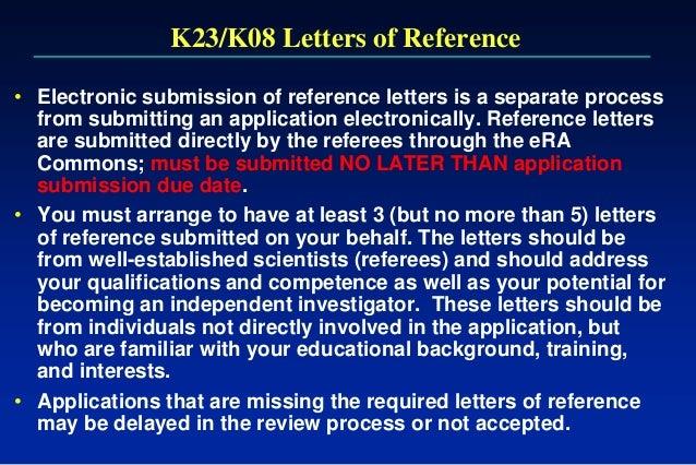 Writing the nih k award july 25 2013 k23k08 letters of reference spiritdancerdesigns Choice Image