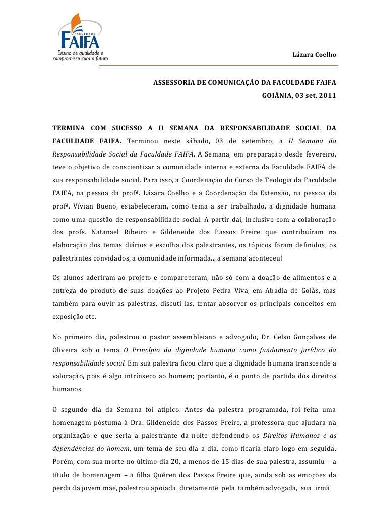 Lázara Coelho                               ASSESSORIA DE COMUNICAÇÃO DA FACULDADE FAIFA                                  ...