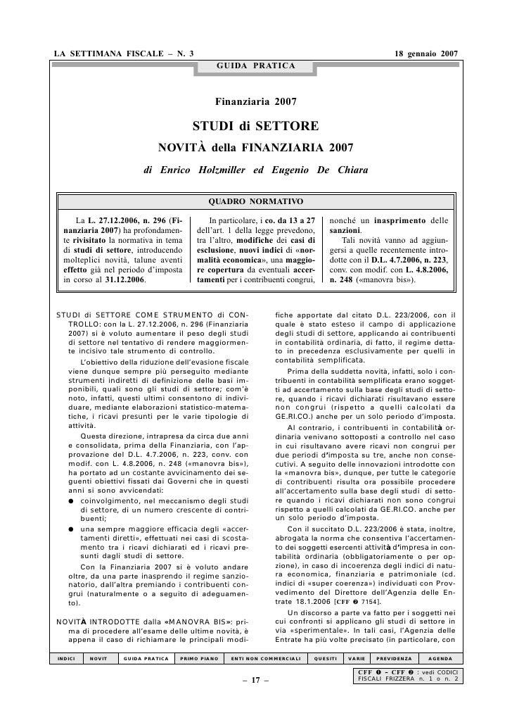 LA SETTIMANA FISCALE – N. 3                                                                       18 gennaio 2007         ...