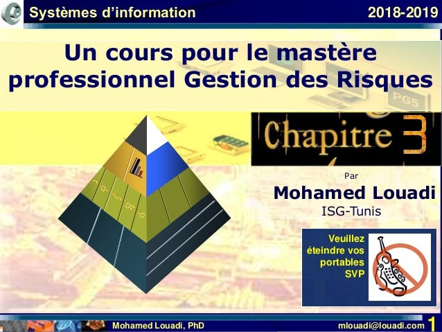 Mohamed Louadi, PhD mlouadi@louadi.com 1 Par Mohamed Louadi ISG-Tunis Veuillez éteindre vos portables SVP 2018-2019 Un cou...
