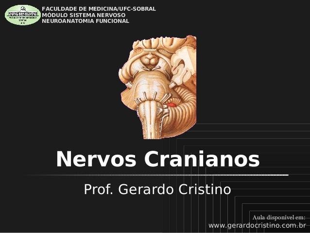 FACULDADE DE MEDICINA/UFC-SOBRAL MÓDULO SISTEMA NERVOSO NEUROANATOMIA FUNCIONAL  Nervos Cranianos Prof. Gerardo Cristino A...