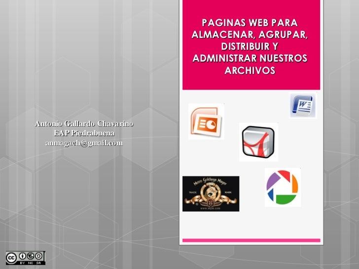 PAGINAS WEB PARA                             ALMACENAR, AGRUPAR,                                  DISTRIBUIR Y            ...