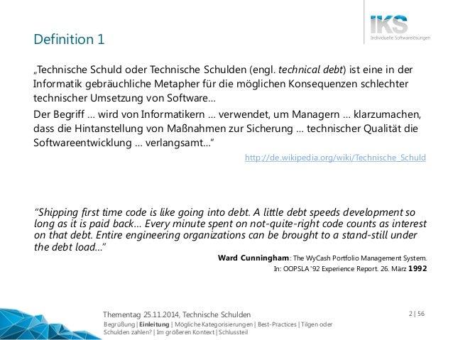 Mehr Softwarequalität: Technische Schulden Slide 2